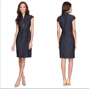 Calvin Klein Cap Sleeve Belted Button Dress